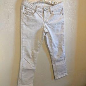 Hydraulic White Jean Calf Length Capri